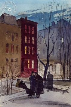 """A California art print on Arches watercolor paper. 100% archival, and printed in HD. """"This wonderful painting was done in Washington Square in Greenwich Village, NYC, soon after my parents moved East"""