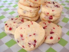 Orange cranberry shortbread cookies. Great because you don't need to roll the dough: just form it into a log, chill, slice and bake! Made 'em, ate 'em, loved 'em. Yummy!