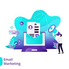 Landing Page Email Marketing Vector Illustration Concept Marketing Digital, Email Marketing, Web Design, Staff Training, Marketing Training, Vector Format, Flat Illustration, Mobile App, Landing