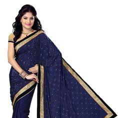 Dark Blue Satin Jacquard and Satin Saree with Blouse