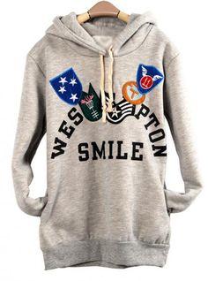 Light Gray Honorary Badges Hooded Sweatshirt$43.00