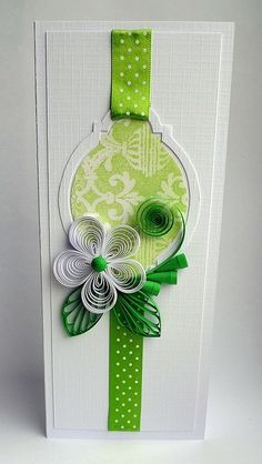 Love the negative space, the quilling, the ribbon, the cut frame. It's all good.