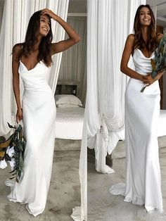 Spaghetti Straps Unique Design Elegant Simple High Quality Long Prom Dresses, Be. Spaghetti Straps Unique Design Elegant Simple High Quality Long Prom Dresses, Beach Wedding Dresses, The dresses are fully lined, chest pad in . Top Wedding Dresses, Wedding Dress Trends, Wedding Gowns, White Prom Dresses, Wedding Dress Simple, Beach Formal Dresses, Cowl Neck Wedding Dress, Boho Wedding, Slip Wedding Dress