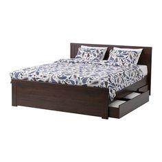 IKEA - BRUSALI, Estrutura cama c/4 gavetões,  , 160x200 cm, , As 4 gavetas grandes com rodízios oferecem-lhe espaço de arrumação extra debaixo da cama.As laterais da cama permitem regular a altura do estrado para colchões de diferentes espessuras.