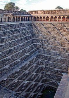 The Chand Baori in Rajasthan, India is one of the oldest stepwells in the world. It dates back to between 800-900 AD. While the stepwell is no longer in use as a means of water procurement, it is kept in place for its historical, architectural, and artistic purposes.