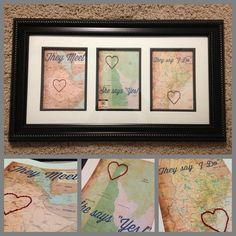 Love Story Maps - Framed - They Meet, She Says Yes, They Say I Do.  A handmade and thoughtful engagement or wedding gift. on Etsy, $64.00