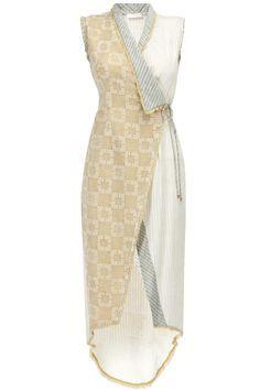 NEETA LULLA Ecru block print overlaped tunic available only at Pernia's Pop-Up Shop.