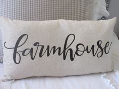 Farmhouse Pillow Cover Script 12x23 by BeiFioriEmbellish on Etsy