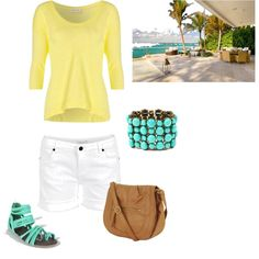 Yellow short-sleeve shirt, white shorts/jeans, teal necklace!