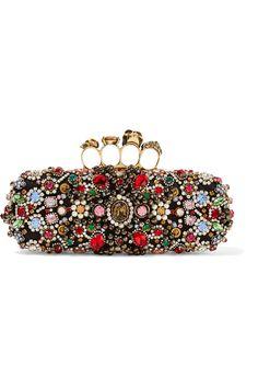 Alexander McQueen | Knuckle embellished satin box clutch | NET-A-PORTER.COM