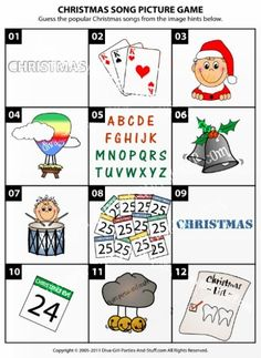 Can you guess the popular Christmas songs from the image hints in this Christmas song picture game? Try it yourself and then play with friends at holiday parties and gatherings.