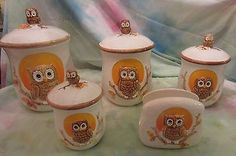 SET OF 4 VINTAGE OWL CANISTERS WITH NAPKIN HOLDER SEARS ROEBUCK CO. ** RARE**
