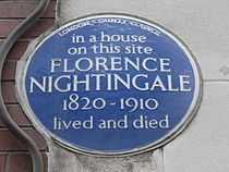 Plaque erected in 1955 by London County Council at 10 South Street, Mayfair, London City of Westminster Florence Nightingale Facts, Royal Society Of Arts, King's College London, London History, British History, English Heritage, Street Names, Greater London, Westminster
