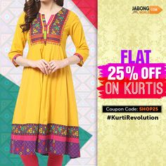 Become a part of the #KurtiRevolution NOW!!!- http://www.jabongworld.com/women/kurtis.html?dir=desc&gclid=CIjpzoi97sYCFYwHvAodBl4LiQ&order=created_at?utm_source=ViralCurryOrganic&utm_medium=Pinterest&utm_campaign=KurtiRevolution-23-july2015 #Fashion #Kurti #Flat25Off