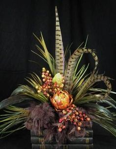 Tuscan Artichoke and Berry Feather Floral Arrangement on eBay!