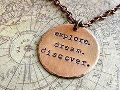 Explore Dream Discover Necklace, Travel Quote, Mark Twain Quote, Copper Necklace, Adventure, Journey on Etsy, $28.00