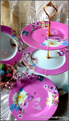 """Three tier handmade chic cake stand """"It's a baby-girl"""" glorious pink with rich floral pattern of exotic white lotus peony apple blossom #Etsy #Share #EtsyShop Shared by #BaliTribalJewelry http://etsy.me/1sDZ302"""