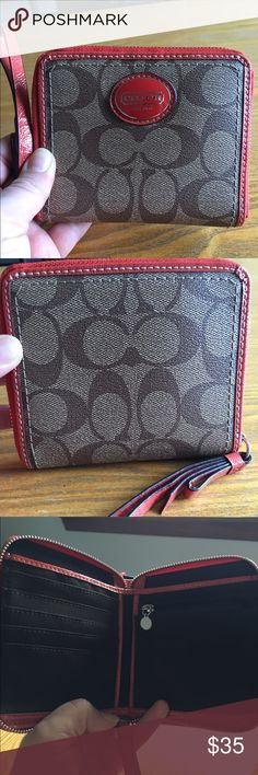 Brown and orange small COACH wallet Super cute wallet. Like new. Only used a couple times. Can be worn as a wristlet. Coach Bags Wallets