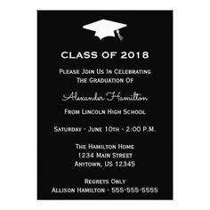 Class Of 2018 Cap Graduation Invitation (Black) - invitations custom unique diy personalize occasions