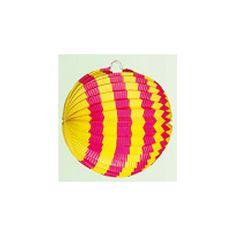 Lampion geel/roze 24 cm. Lampion met gele en roze kleuren in strepen motief. Deze lampion is gemaakt van papier en is brandvertragend. De gekleurde lampion is ongeveer 24 cm groot.