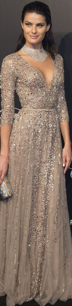 Izabeli Fontana wearing Elie Saab at the 2015 Cannes Film Festival