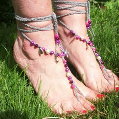 Purple Pearl Charm Barefoot Sandals - Hand Crocheted, £13.99