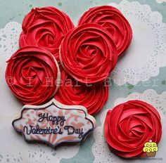 Royal Icing Roses decorated sugar cookies for Valentine's Day