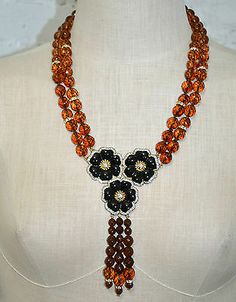 VTG 80's-90's ITALY VOGUE BIJOUX HUGE AMBER CRYSTAL RHINESTONE FLOWER NECKLACE