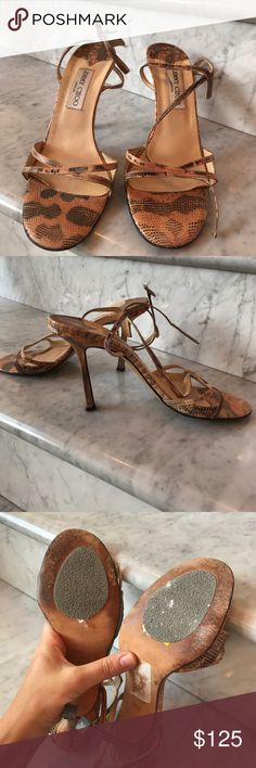 "Jimmy Choo Snakeskin Sandal In good condition.  Size 39.5.  No box or dust bag.  Bronze metallic snakeskin Jimmy Choo round-toe sandals with tonal stitching, covered heels and buckle closures at ankle straps. Heels: 4"" Jimmy Choo Shoes Sandals"
