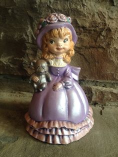 Vintage Hand Painted Figurine of Girl & Teddy by MyVintageAlcove