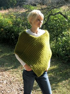 "The ""In the Morning"" Women's Knitted Poncho/ Chunky Knit Poncho on Etsy, $109.00"