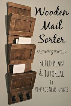 DIY Wood Mail Sorter Organizer:: with Awesome step-by-step VIDEO TUTORIAL from @Candace Renee @ Vintage News Junkie