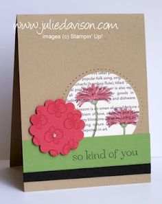 "Stampin' Up! Reason to Smile card by Julie Davison, http://juliedavison.com      ..... | Stamps, Inks and/or Markers, Paper, 1-3/4"" Scallop Circle Punch, 2-1/2"" Circle Punch, Pearl Jewel Accents, Paper-Piercing  supplies"