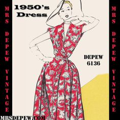 Vintage Sewing Pattern 1950's Dress in Any Size Depew 6136 -INSTANT DOWNLOAD- by Mrs. Depew Vintage.