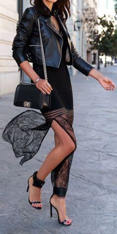#street #style leather + lace @wachabuy