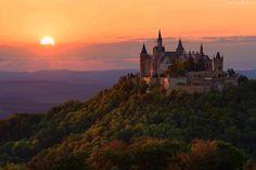 Zachód, Słońca, Zamek Neuschwanstein