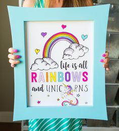 Every little girl dreams of rainbows and unicorns. Our Unicorn Birthday Poster-Life is All Rainbows and Unicorns is perfect for your little lady. Rainbow Unicorn Party, Rainbow Birthday Party, Rainbow Room, Unicorn Birthday Parties, 7th Birthday, Birthday Cake, Party Favors, Birthday Party Decorations, Birthday Ideas