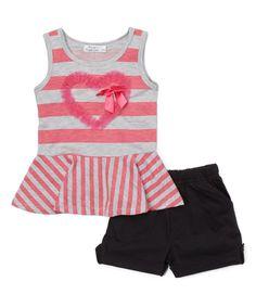 Neon Pink Stripe Peplum Tank & Black Shorts - Toddler & Girls