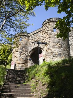 Entrance to Scarborough Castle, Scarborough, North Yorkshire, Yorkshire, England, UK