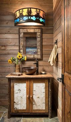 A Modern Take on Old Western Style in Colorado Log Cabin Furniture, Rustic Wood Furniture, Western Furniture, Furniture Design, Rustic Cabin Decor, Lodge Decor, Rustic Cabins, Log Cabins, Rustic Bathroom Lighting