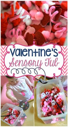 Pink, white and red Valentine's day sensory bin for toddlers and older kids perfect for exploring textures and fine motor practice! Idea for Valentine's Day speech-language therapy!