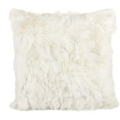Simple Things Alpaca Fur Cushion Cover - White - 60x60cm (590 CAD) ❤ liked on Polyvore featuring home, home decor, throw pillows, my hom, white toss pillows, white accent pillows, white home accessories, white throw pillows and white home decor