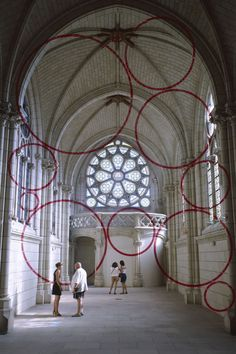 "Felice Varini, ""Encerclement à dix,"" Chapelle Jeanne d'Arc/Centre d'Art Contemporain, Thouars, France, 1999"