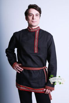 Rubakha Russian traditional slavic linen shirt Kosovorotka Vladimir for men, Cossack shirt, Black shirt, Grey shirt by Folkruss on Etsy Russian Men, Russian Fashion, Costume Russe, Russian Wedding, Traditional Dresses, Russian Traditional Dress, Grey Shirt, Shirts, Fort Ross
