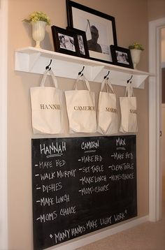 Chore Chart/Hallway idea. Love the idea of seperating everyones mail into their bag and listing chores on chalkboard.