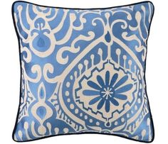 Citadel Floral Escape Pillow. Captivating Beauty enfolds while classic and modern intertwine to create the Citadel Floral Escape Pillow. Shades of sky blue on white crisp linen are classic.