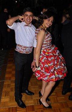 After  winning a candy-as-clothing contest held by a Chicago candy store in May, high school student Cristal Garcia wore this dress made of Skittles bags to her prom. Love the fact that her date wore a matching bowtie and cummerbund. How... sweet! Why just taste the rainbow, when yuo can wear it, too?