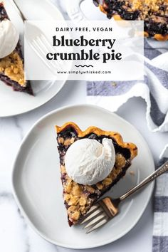 This blueberry pie is filled with sweet blueberries inside a flaky, vegan pie crust and topped with a crispy crumble topping with a hint of cinnamon. Top it with your favorite dairy free ice cream or whipped topping for a classic summer treat. Blueberry Crumble Pie, Pie Crumble, Vegan Blueberry, Crumble Topping, Blueberry Recipes, Whipped Topping, Paleo Ice Cream, Dairy Free Ice Cream, Paleo Dessert