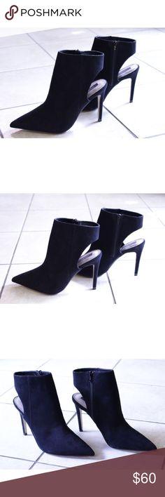 ZARA Black Suede Open Heel Ankle Booties Black suede open heel ankle booties in great condition. Zara Shoes Ankle Boots & Booties