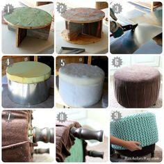 Batchelors Way: Rustic Charm Room - How to Make a DIY Pouf or ottoman
